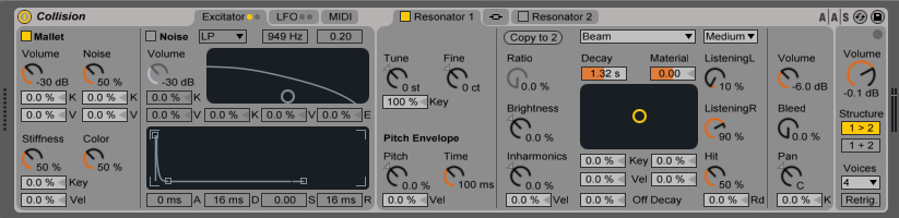 the Collision instrument in Ableton Suite models the sound of things being hit or stroked. It's the Filter section of Collision that has been made into it's own audio effect, called Corpus.