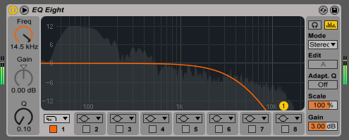 In Ableton Live 9, the EQ Eight device now displays the changes you make to the audio spectrum