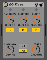 EQ Three device has a new Flat Response setting in Live 9