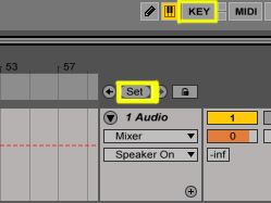 The Set button places a 'locator' (aka marker) at the current 'arrangement insert marker' (aka cursor) position. You can enter the 'Key Map switch mode' with the highlighted KEY button above. This mode allows you to assign the keys of your computer keyboard to trigger buttons in Ableton Live.