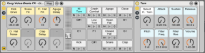 The FX Drum Rack, with effects applied to each specific cell, and Macros for easy tweaking.