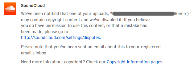 soundcloud piracy message