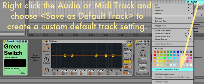 custom default track ableton live