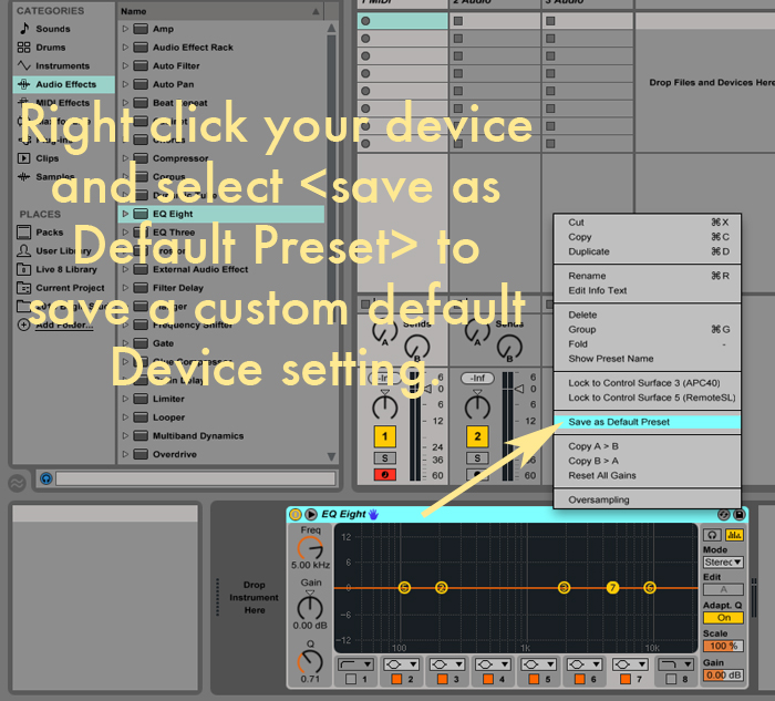 custom default device ableton live