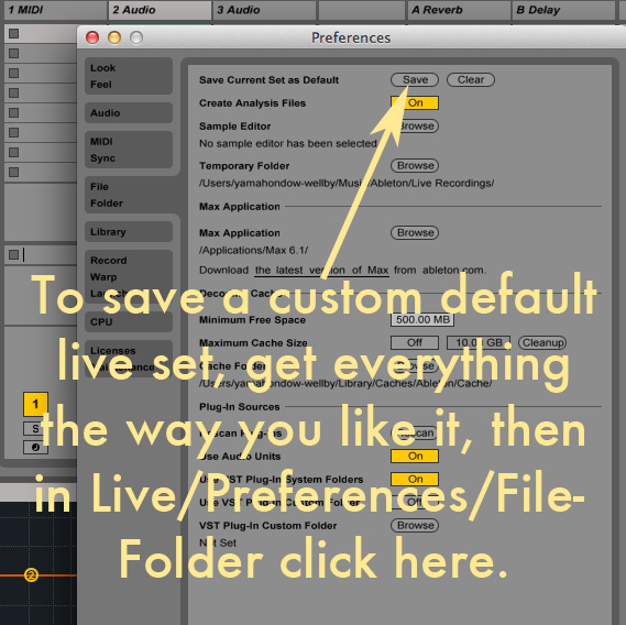 how to save default live set