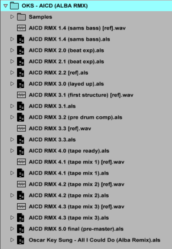 Here's a screen shot of the project files for our remix of Oscar Key Sung. The earliest stage versions sat in a different project all together, but you can see the progression through to the final pre-master, with reference renders after every couple of versions.