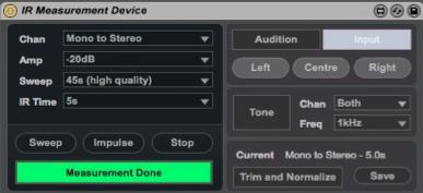 ir measurement device settings