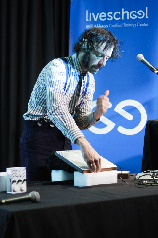 Daedelus' jamming out on his Monome controllers