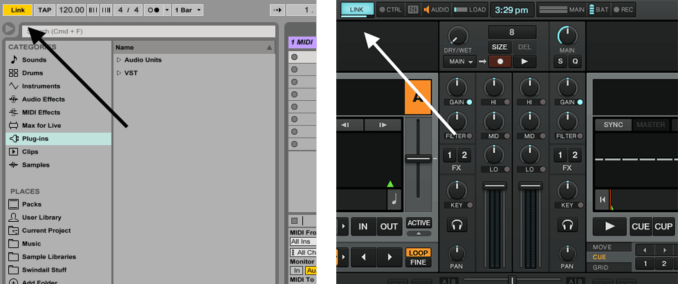 Link buttons in Live and Traktor