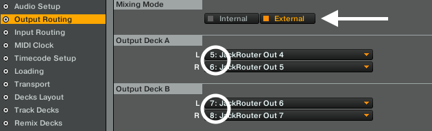Traktor to Live Output deck routing