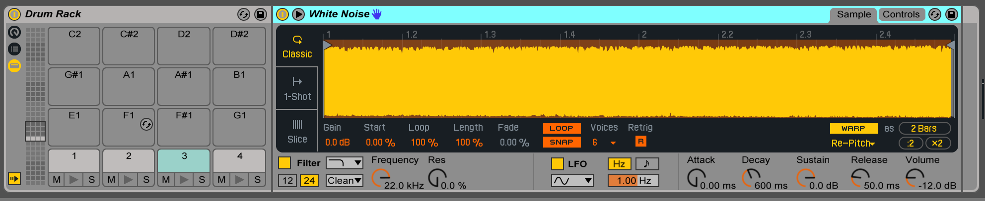 Drum rack noise triggers
